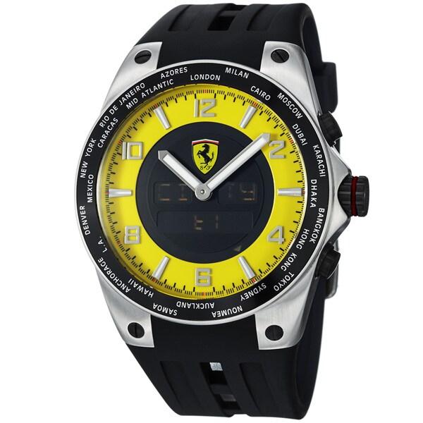 Ferrari Men's FE-05-ACC-YW 'World Time' Yellow Analog Digital Dial Quartz Watch