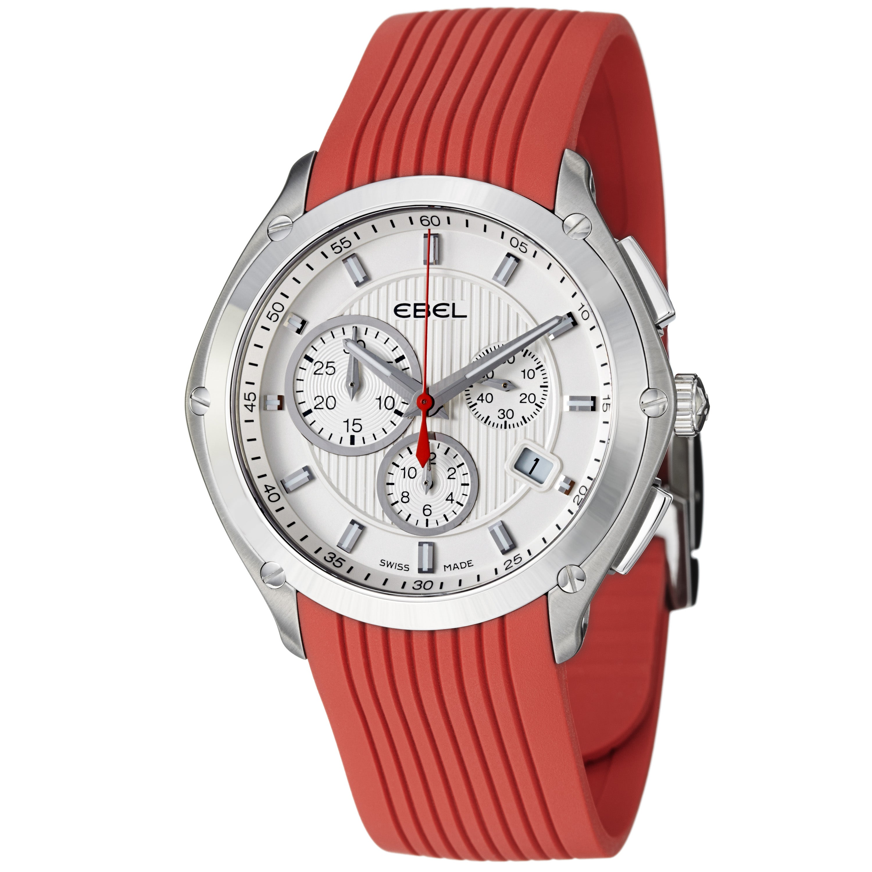 Ebel Men's 'Classic Sport' Silver Dial Red Rubber Strap Quartz Watch
