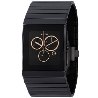 Rado Men's 'Ceramic' Black Dial Chronograph Quartz Bracelet Watch