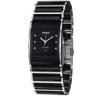 Rado Men's 'Integral' Black Dial Stainless Steel Ceramic Watch