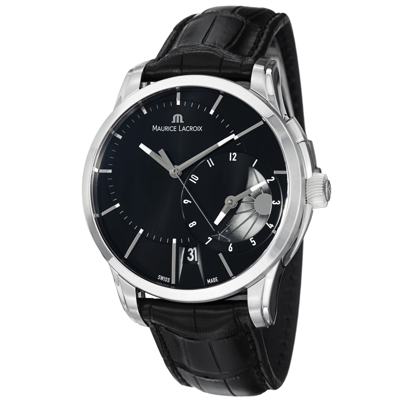 Maurice Lacroix Men's PT6118-SS001-331 'Pontos' Black GMT Dial Leather Strap Watch