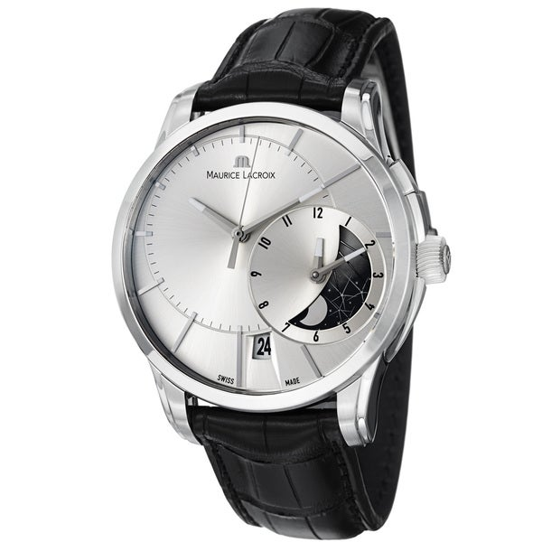 Maurice Lacroix Men's PT6118-SS001-131 'Pontos' Silver GMT Dial Leather Strap Watch