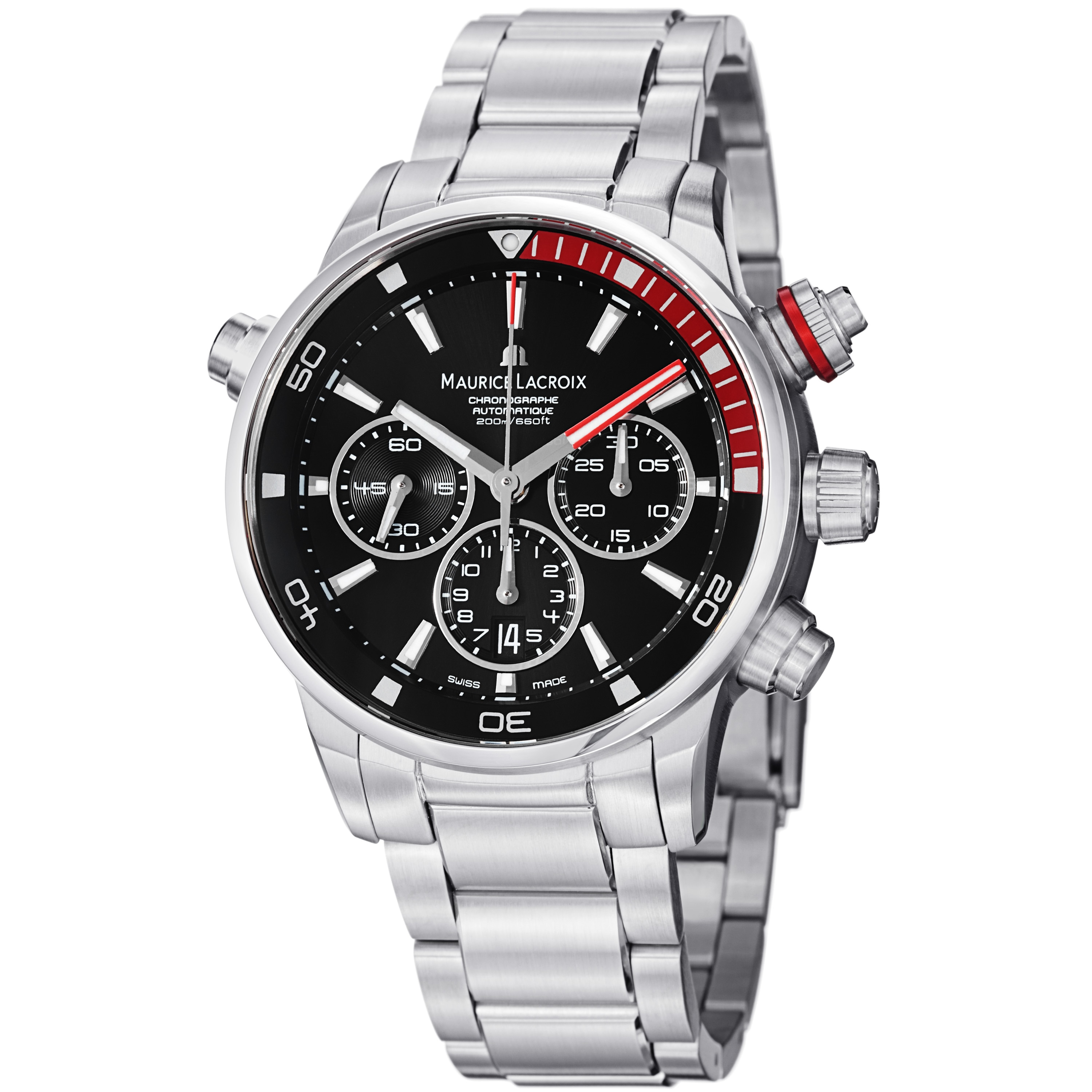 Maurice Lacroix Men's 'Pontos' Black Dial Silvertone Stainless Steel Watch