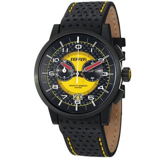 Ferrari Men's FE-11-IPB-CP-YW 'Granturismo' Black Dial Leather Strap Water-resistant Chronograph Watch