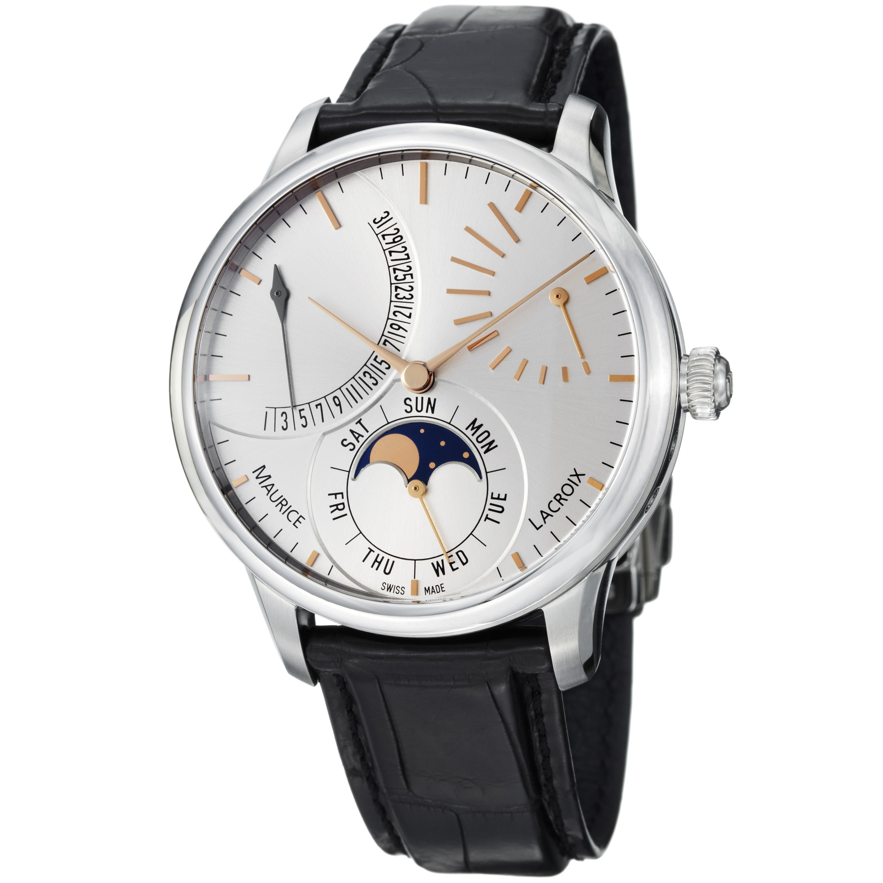 Maurice Lacroix Men's MP6528-SS001-130 'Master Piece' Silver Dial Retrograde Watch