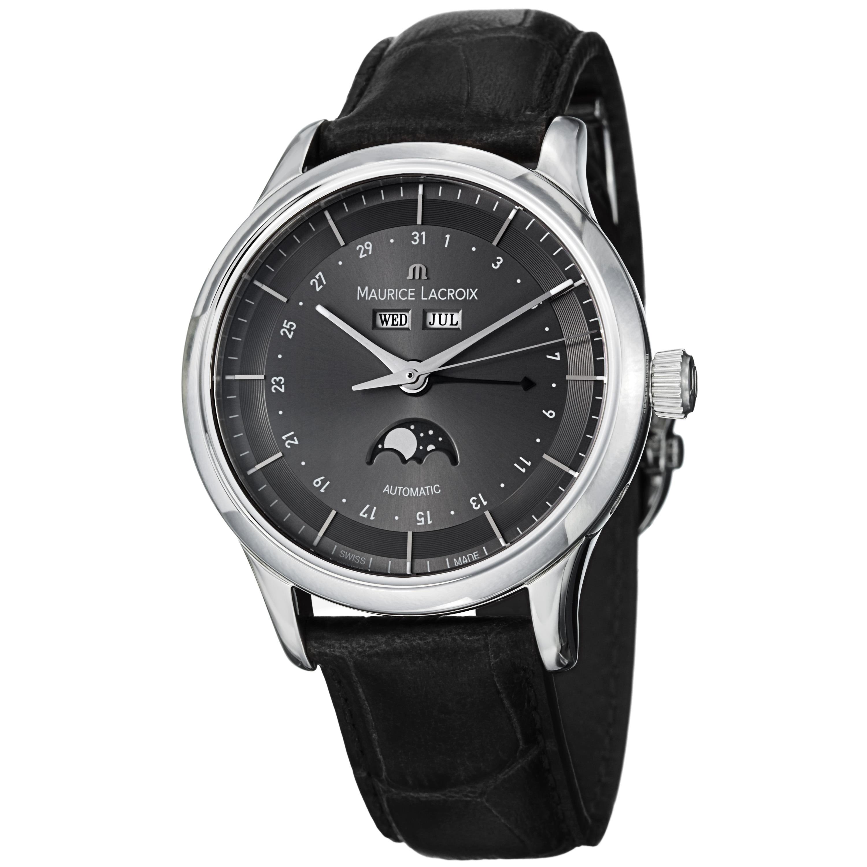 Maurice Lacroix Men's LC6068-SS001-331 'Les Classiques' Grey Dial Leather Strap Watch