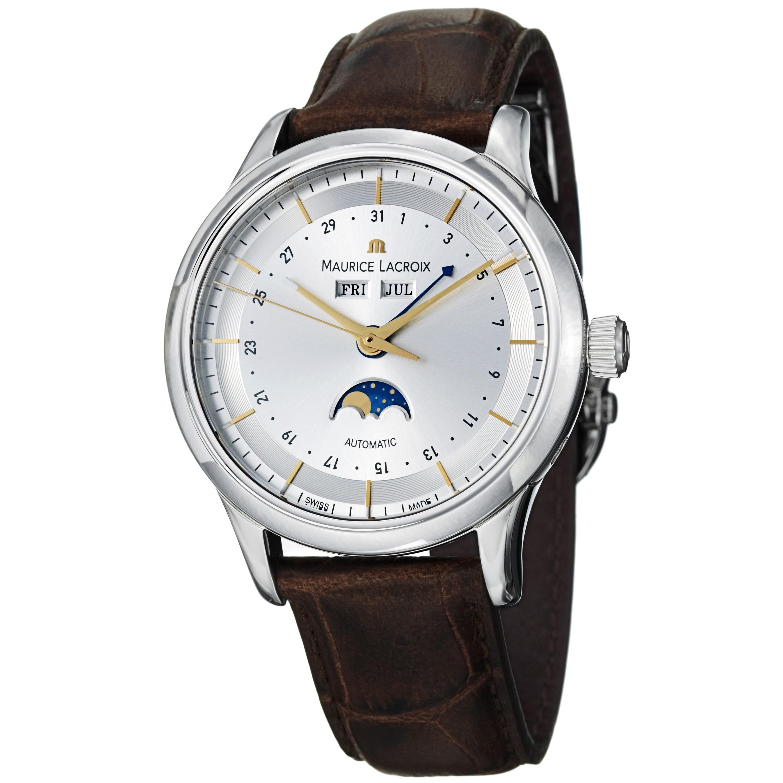 Maurice Lacroix Men's LC6068-SS001-132 'Les Classiques' Silver Dial Leather Strap Watch