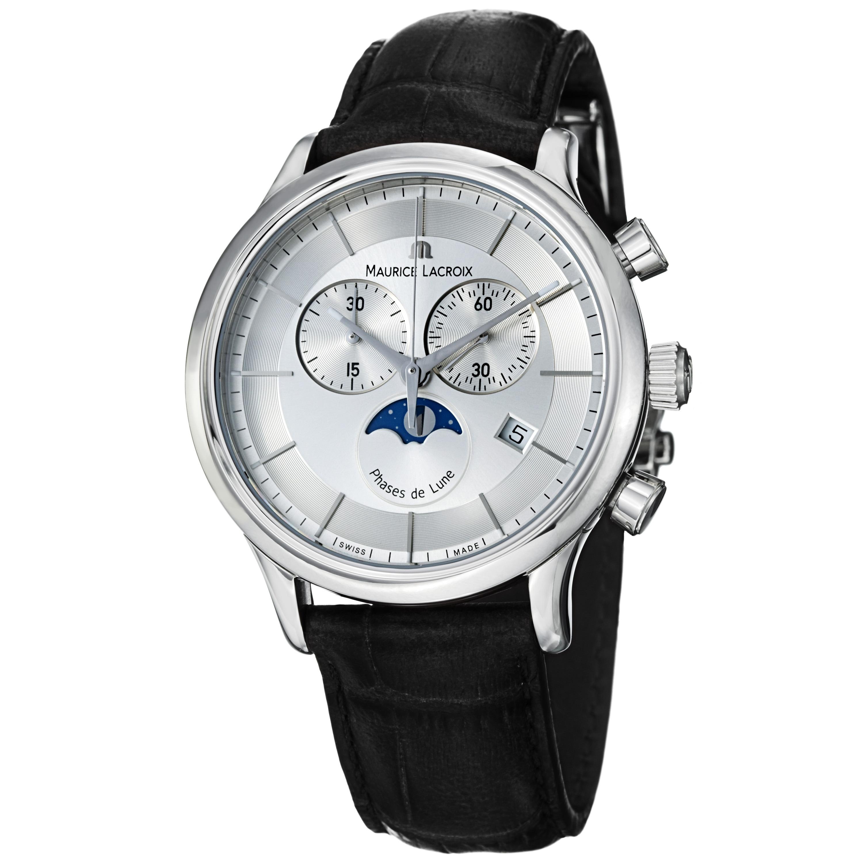 Maurice Lacroix Men's 'Les Classiques' Silver Dial Moon Phase Watch