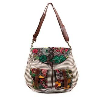 Nikky Jocie Flowers Stripes Messenger Bag