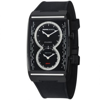 Momo Design Men's 'Dual Tech' Black Diamond Dial Rubber Strap Watch