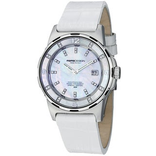 Momo Design Women's MD093-E-02SL-LS 'Pilot Lady' Mother of Pearl Dial Strap Watch