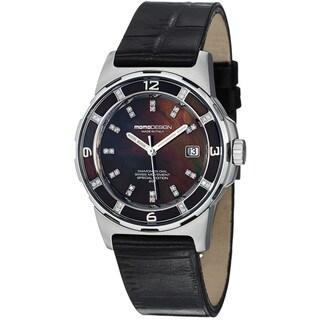 Momo Design Women's MD093-E-01BK-LS 'Pilot Lady' Black Dial Black Leather Strap Watch
