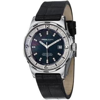 Momo Design Women's MD093-D-01BK-LS 'Pilot Lady' MD093-D01BK-LS Black Diamond Dial Black Strap Watch