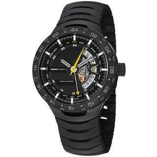 Momo Design Men's 'Master Racer' Black GMT Dial Black Titanium Watch