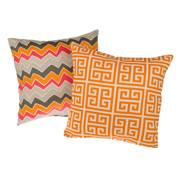 Tempo Orange Reversible Square Decorative Pillows (Set of 2)