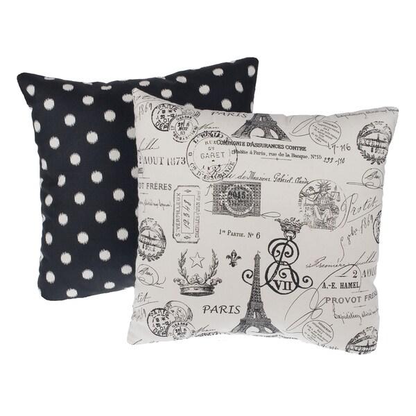 Paris Black Reversible Square Decorative Pillows (Set of 2)