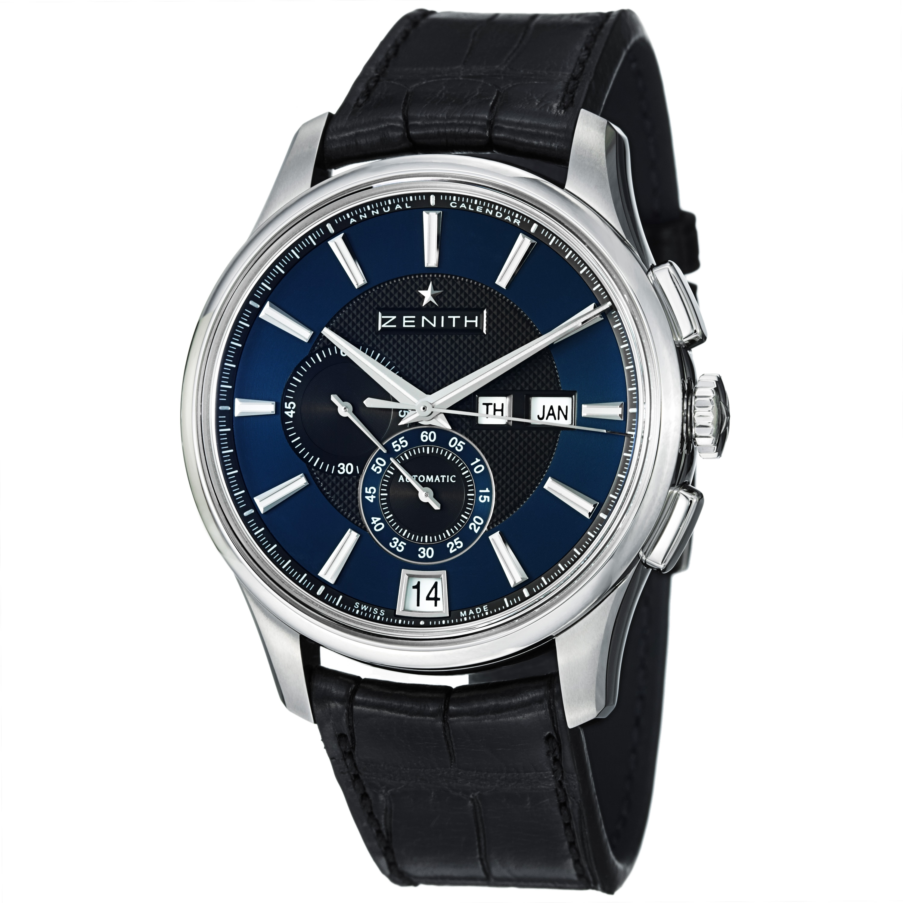 Zenith Men's 'Captain Winsor' Blue Dial Black Leather Strap Watch