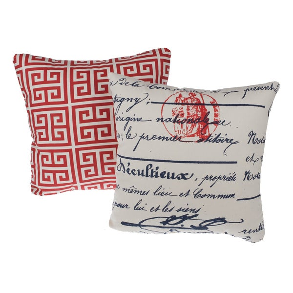 Greek Key Red Reversible Square Decorative Pillows (Set of 2)