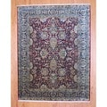 Traditional Indo Hand-Knotted Mahal Burgundy/Black Wool Rug (8' x 10')