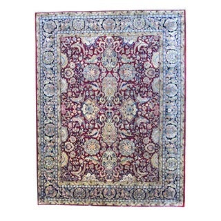 Herat Oriental Traditional Indo Hand-knotted Mahal Burgundy/ Black Wool Rug (8' x 10')