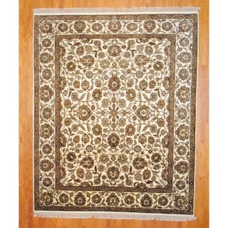 Indo Hand-knotted Mahal Ivory/ Gold Wool Rug (8' x 10')