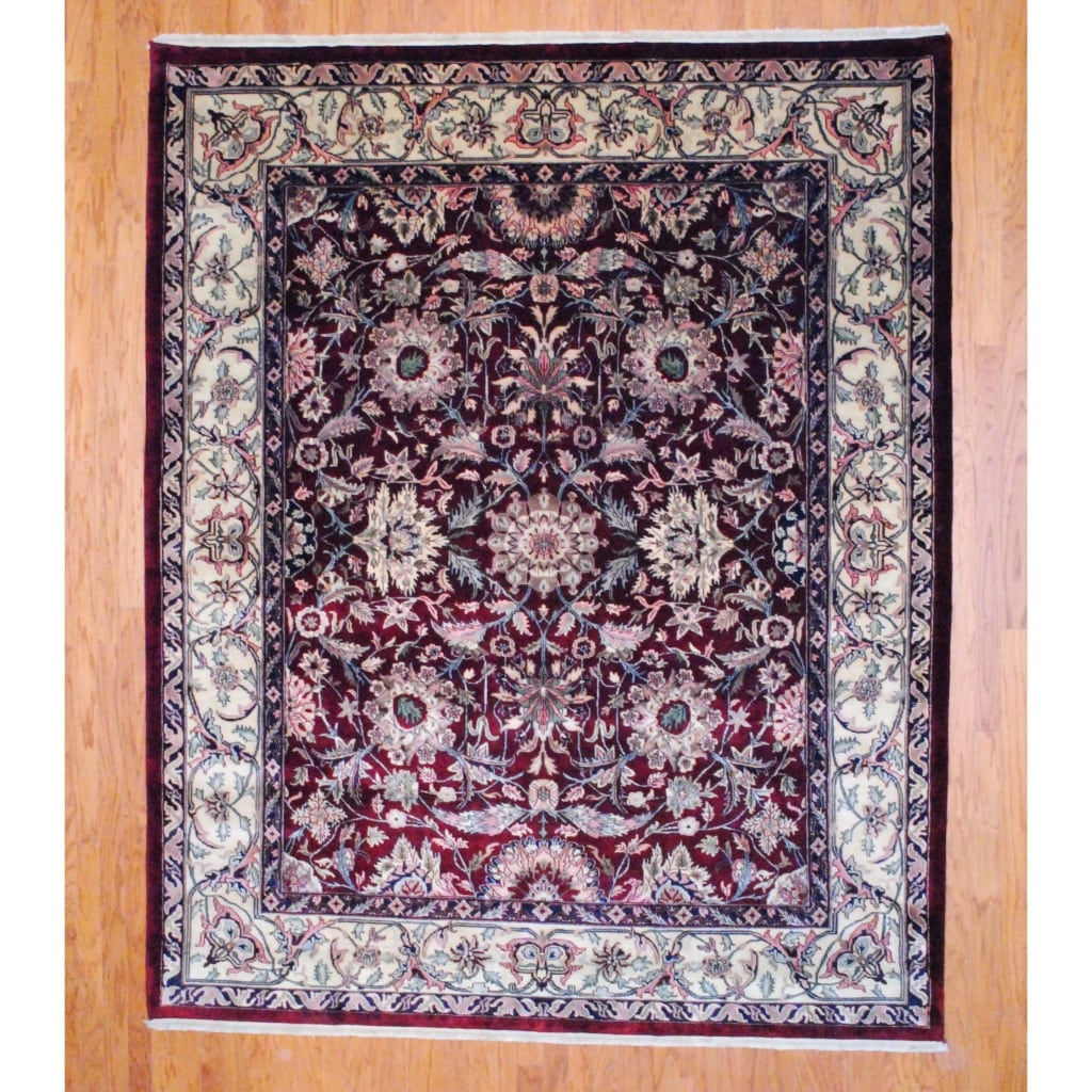 Indo Hand-Knotted Mahal Burgundy/Ivory Wool Area Rug