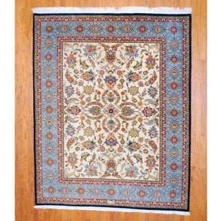 Indo Hand-knotted Tabriz Ivory/ Light Blue Wool Rug (8' x 10')