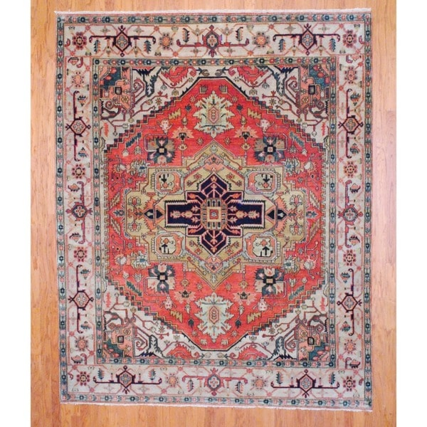 Indo Hand-knotted Serapi Rust/ Beige Wool Rug (8' x 10')