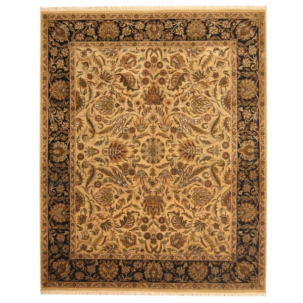 Herat Oriental Indo Hand-knotted Mahal Beige/ Black Wool Rug (8' x 10')
