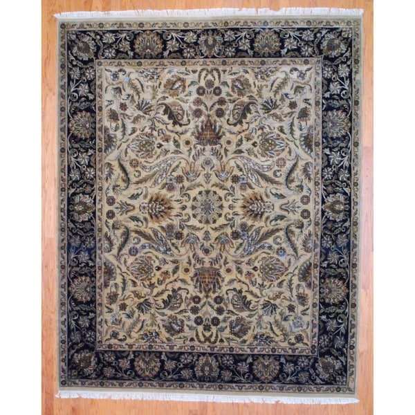 Indo Hand-knotted Mahal Beige/ Black Wool Rug (8' x 10')