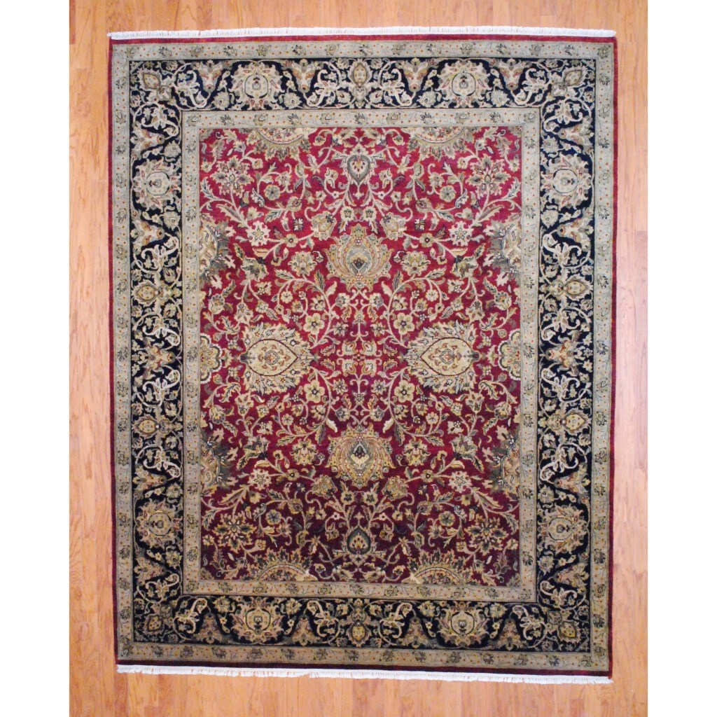 Indo Hand-knotted Oushak Burgundy/ Black Wool Rug (8' x 10')