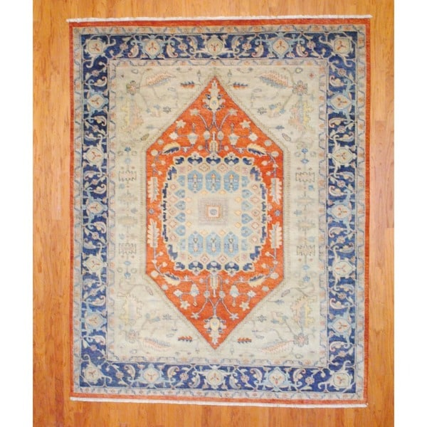 Indo Hand-knotted Serapi Rust/ Navy Wool Rug (8' x 10')
