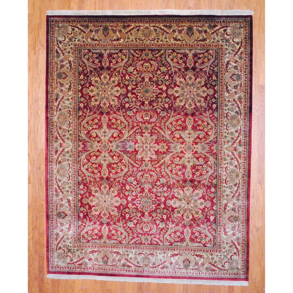Indo Hand-knotted Mahal Burgundy/ Ivory Wool Rug (8' x 10')