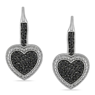 Miadora Sterling Silver 1/2ct TDW Black Diamond Heart Earrings