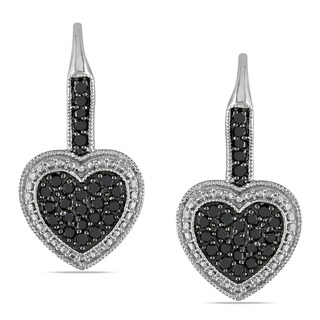 Miadora Sterling Silver 1/2ct TDW Black Diamond Heart Earrings