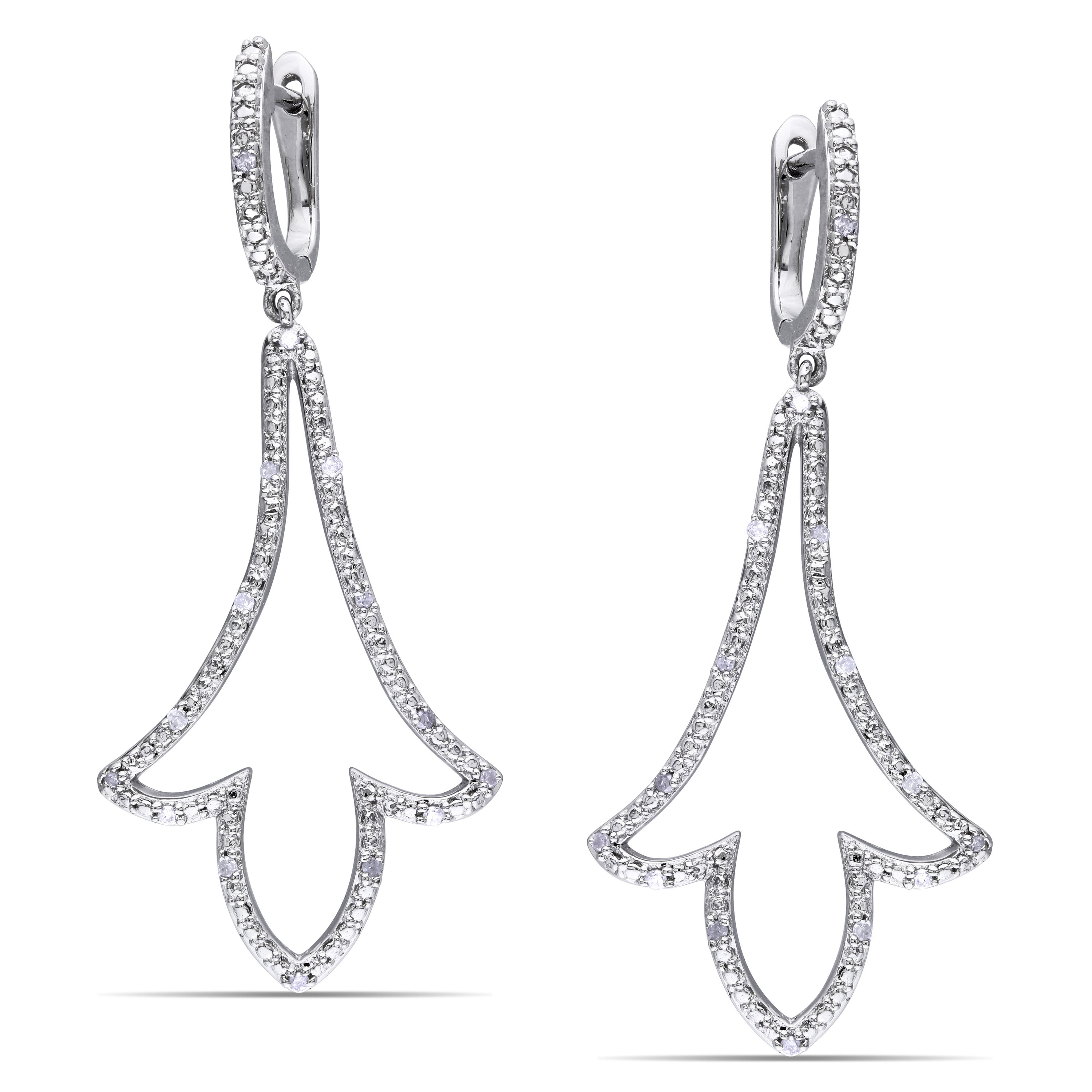 Miadora Sterling Silver 1/6ct TDW Diamond Dangle Earrings (H-I, I2-I3)
