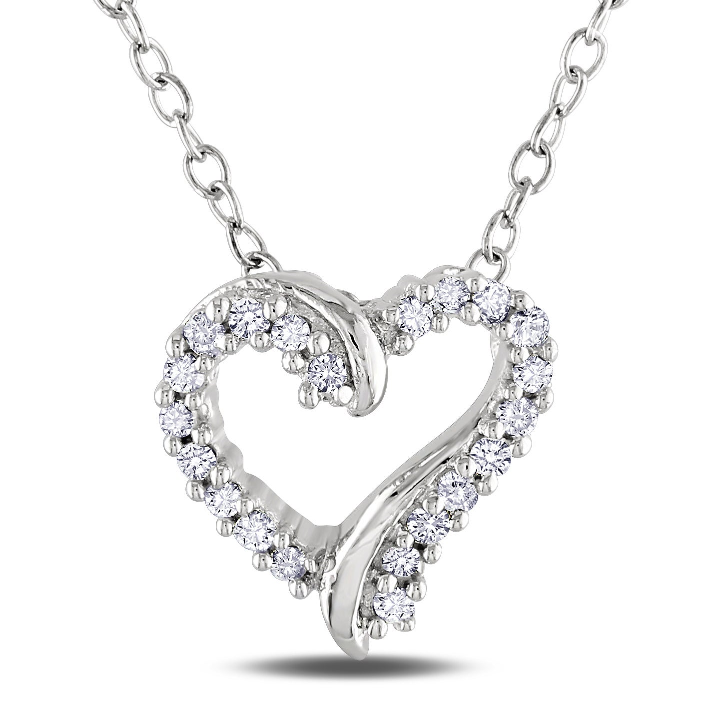 Miadora Sterling Silver Diamond Heart Necklace (H-I, I2-I3)