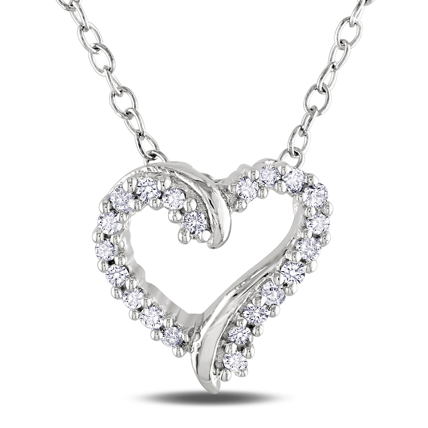 Miadora Sterling Silver 1/10ct TDW Diamond Heart Necklace (H-I, I2-I3)