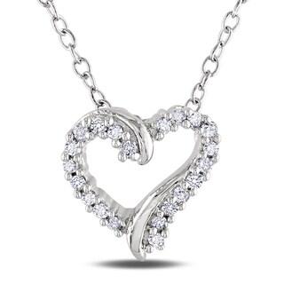 M by Miadora  Sterling Silver Diamond Heart Necklace (H-I, I2-I3)