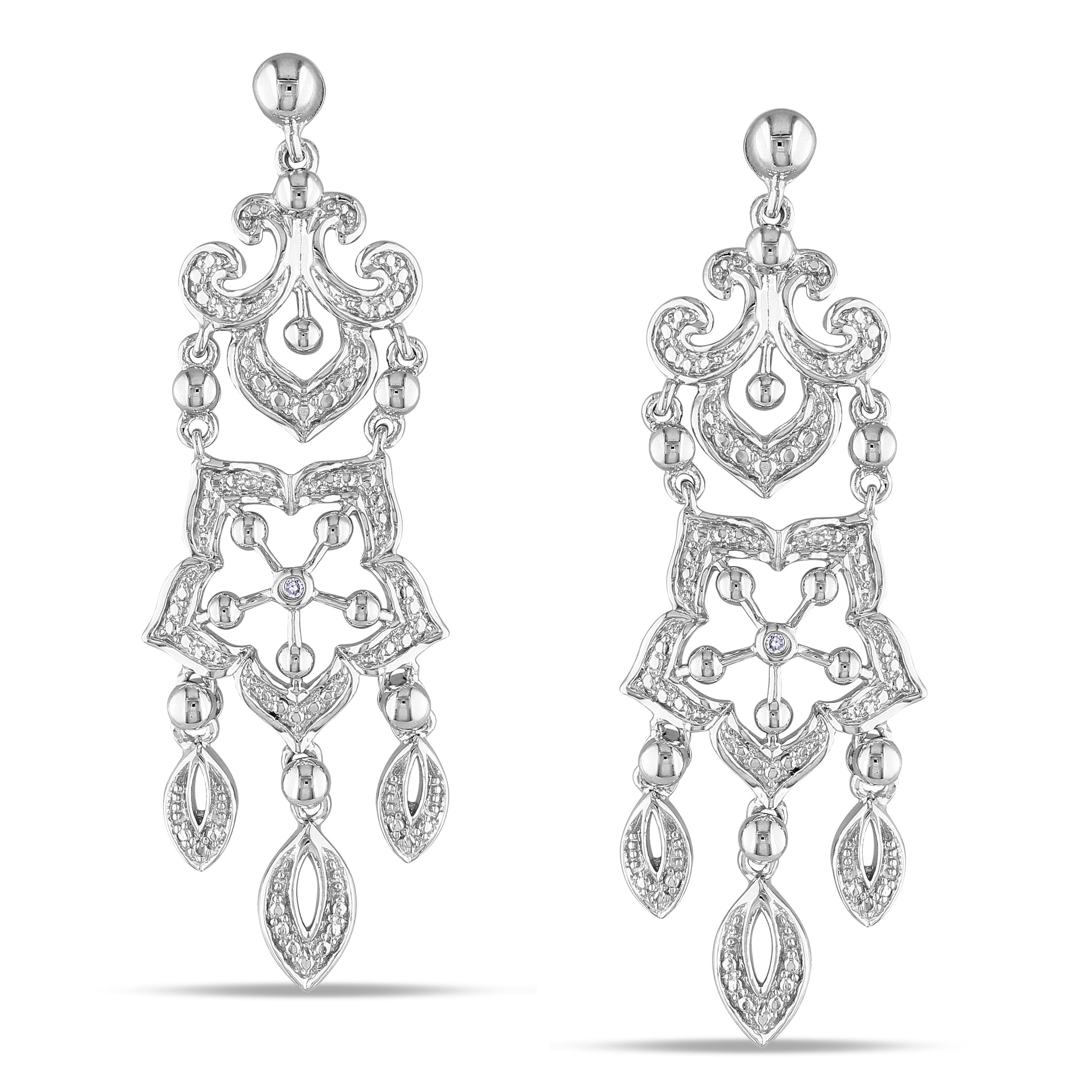 M by Miadora Sterling Silver Diamond Accent Chandelier Dangle Earrings