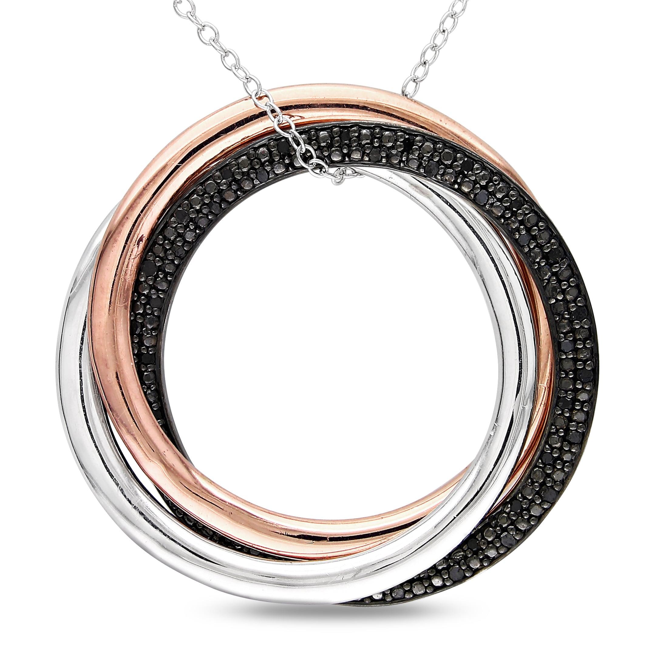 Miadora Two-tone Silver 1/4ct TDW Black Diamond Circle Necklace