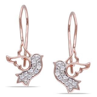 Miadora 10k Rose Gold 1/10ct TDW Diamond Dove Earrings (H-I, I2-I3)