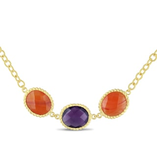 Miadora 18k Yellow Goldplated Silver Carnelian and Amethyst Necklace