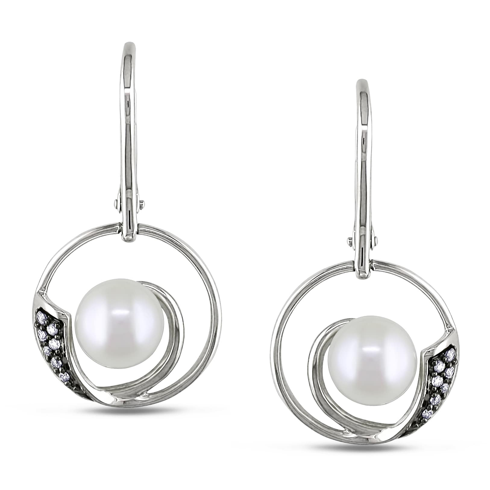 Miadora Silver Pearl and 1/10ct TDW Diamond Earrings (H-I, I2) (7-7.5 mm)