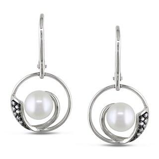 Miadora Silver Pearl and 1/10ct TDW Diamond Earrings (H-I, I2) (7-7.5 mm)