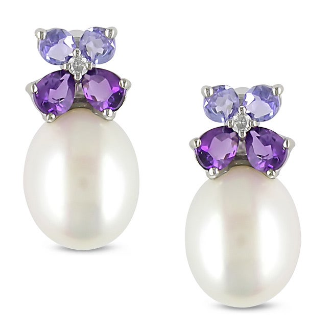 Miadora Silver Pearl, Multi-gemstone and Diamond Earrings (8-8.5 mm)