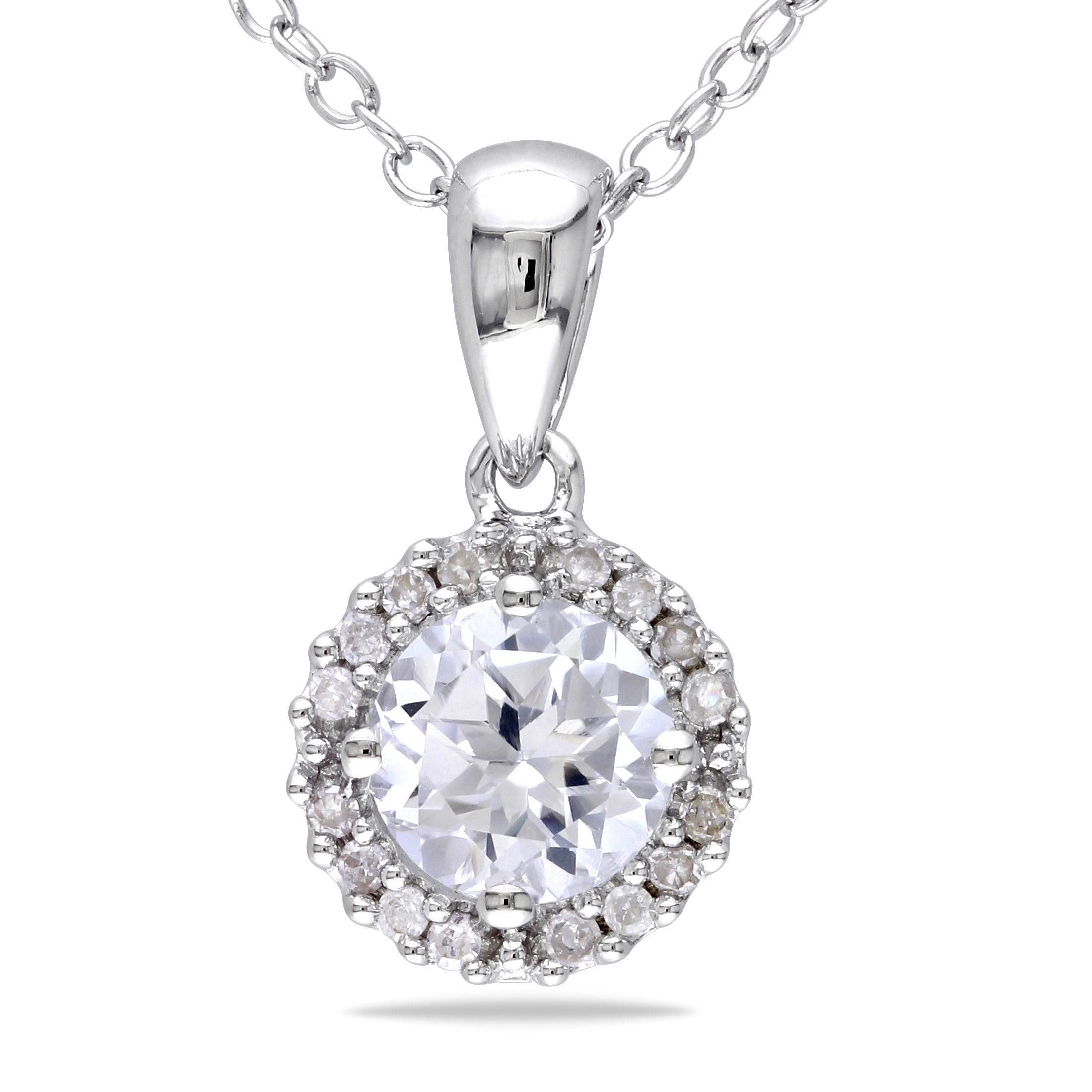 Miadora Silver Created Sapphire and 1/10ct TDW Diamond Necklace (H-I, I2-I3)