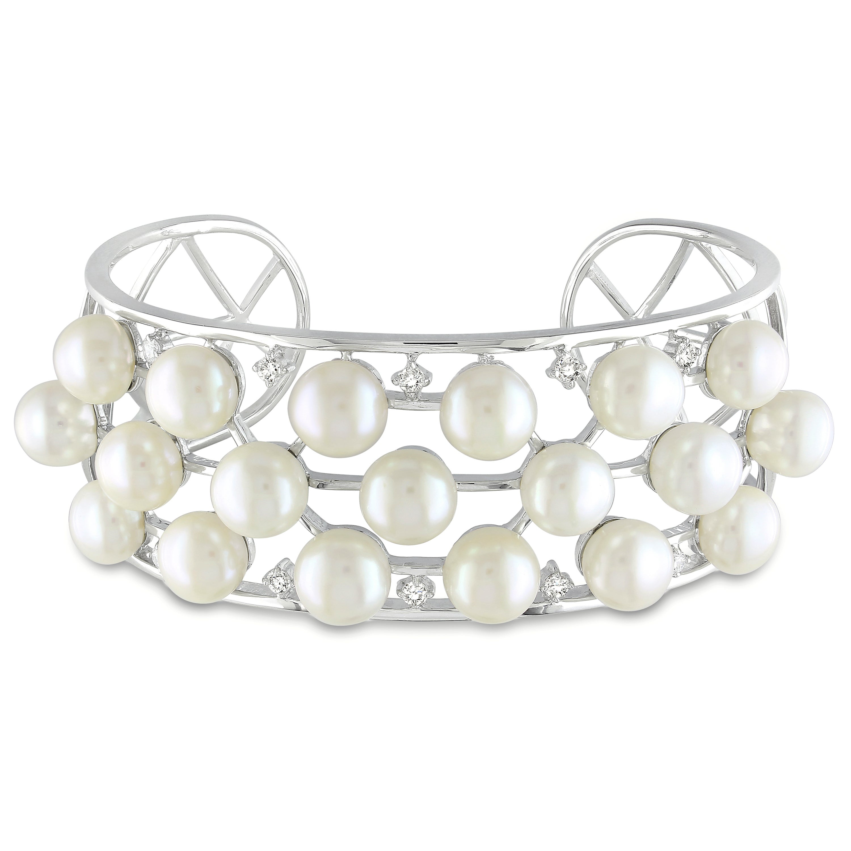 Miadora Silver FW Pearl and Cubic Zirconia Cuff Bracelet (8-8.5 mm)