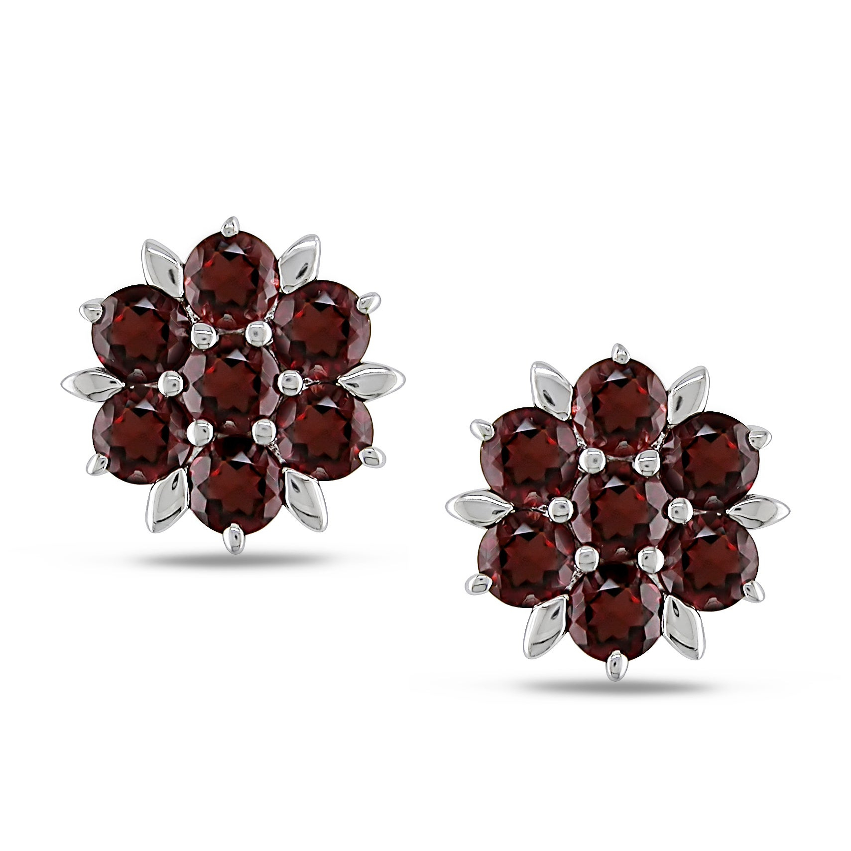 Miadora Sterling Silver Garnet Flower Stud Earrings