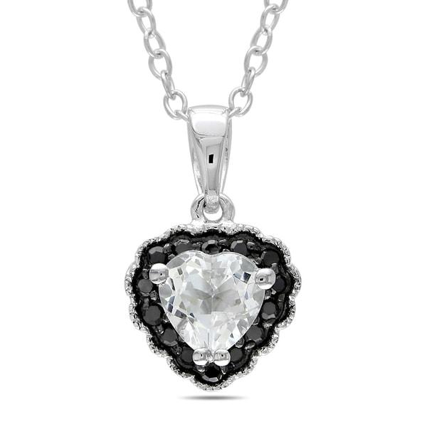 Miadora Sterling Silver White Topaz and Black Diamond Heart Necklace